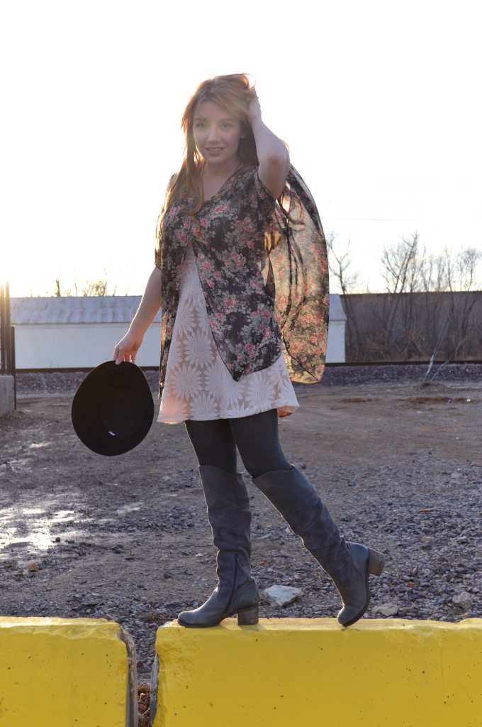 floral kimono with lace dress and boots (3)