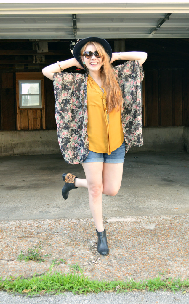 Floral Kimono - Leopard Naturalizer Booties - Summer Outfit (4)