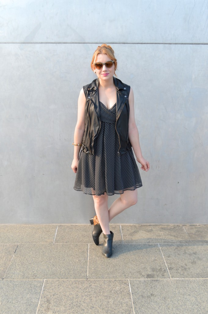 OhJuliaAnn.com - Polka Dot Dress with leather vest and leopard booties featuring vitaminwater outfit post (2)