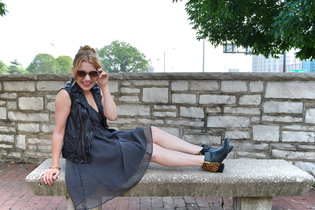 OhJuliaAnn.com - Polka Dot Dress with leather vest and leopard booties featuring vitaminwater outfit post (3)