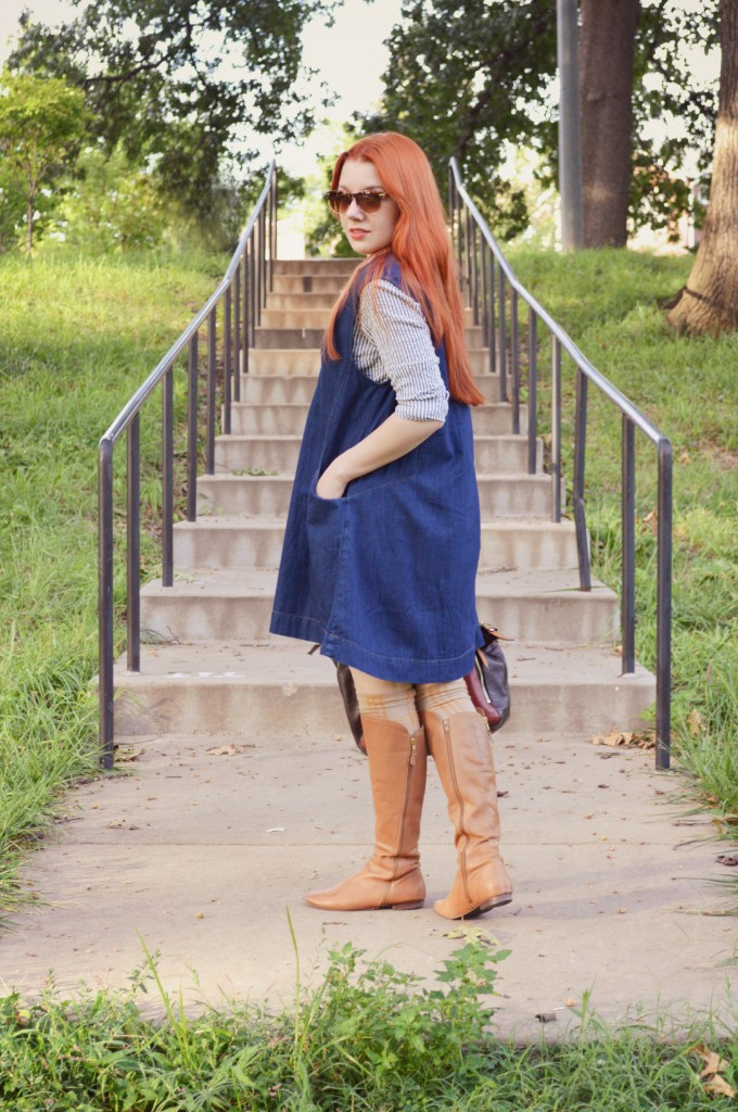 Free People St Louis Missouri - Chambray Dress Denim Jumper Outfit - OhJuliaAnn.com - Oh, Julia Ann - STL - Fashion - Layers - Trapeze Dress