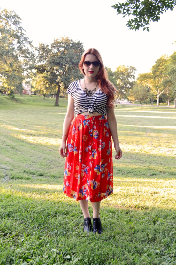 Striped TShirt and Floral Midi Skirt Outfit Summer - OhJuliaAnn.com (2)