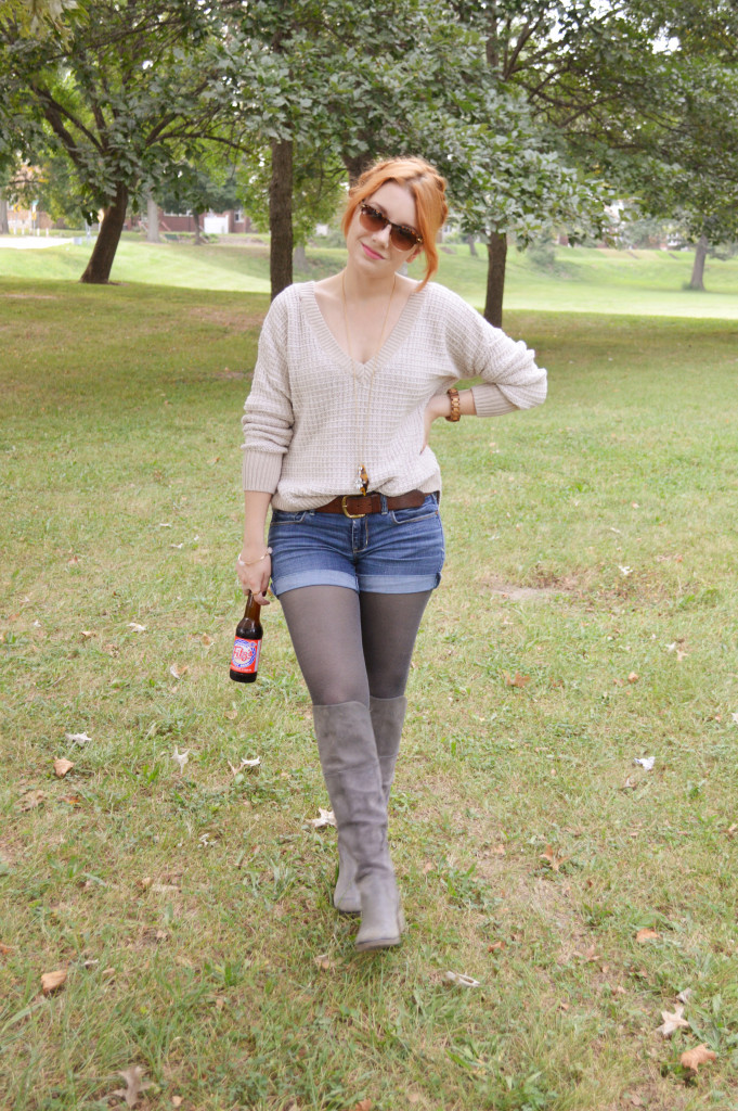 Oversized Sweater with Shorts, Tights, and Boots - Outfit - Oh Julia Ann (3)