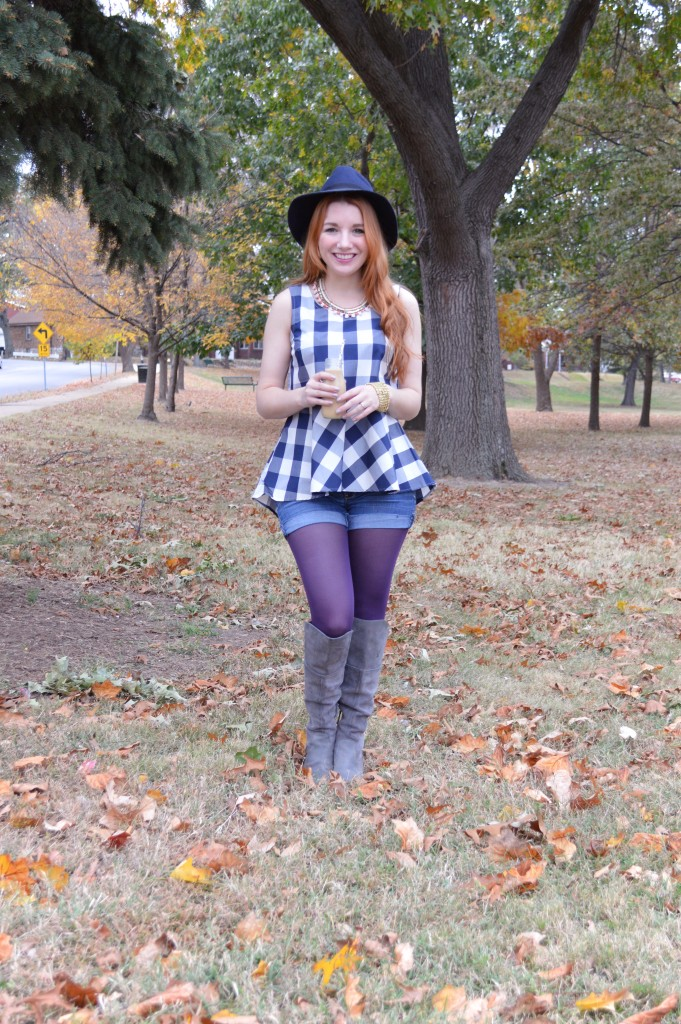 Autumn Outfit - Collections by Joya statement necklace with Anthropologie Gingham Peplum Blouse, Tights, Shorts, and Naturalizer boots - Oh Julia Ann blog (2)