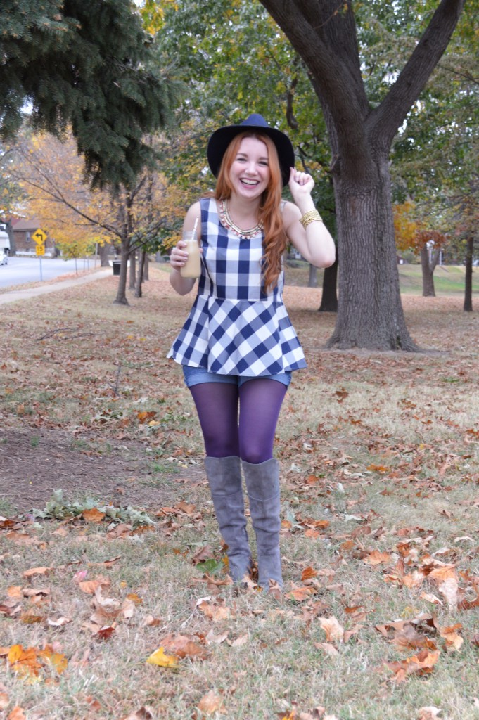 Autumn Outfit - Collections by Joya statement necklace with Anthropologie Gingham Peplum Blouse, Tights, Shorts, and Naturalizer boots - Oh Julia Ann blog (3)