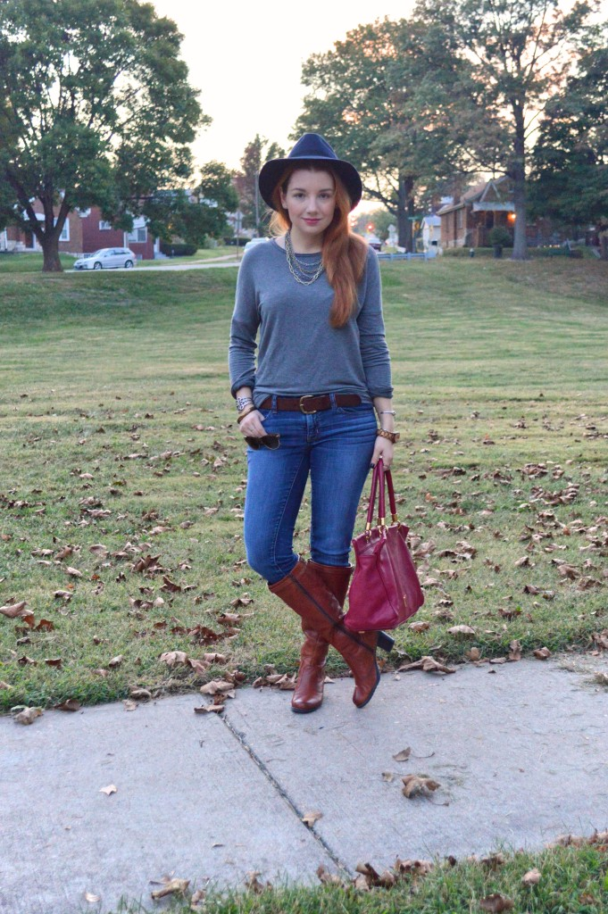 Kit And Ace Outfit - Cashmere Sweater with Jeans and Hat - Oh Julia Ann - Marc by Marc Jacobs Too Hot To Handle Tote - Naturalizer Damaris Boot - American Eagle Jeggings