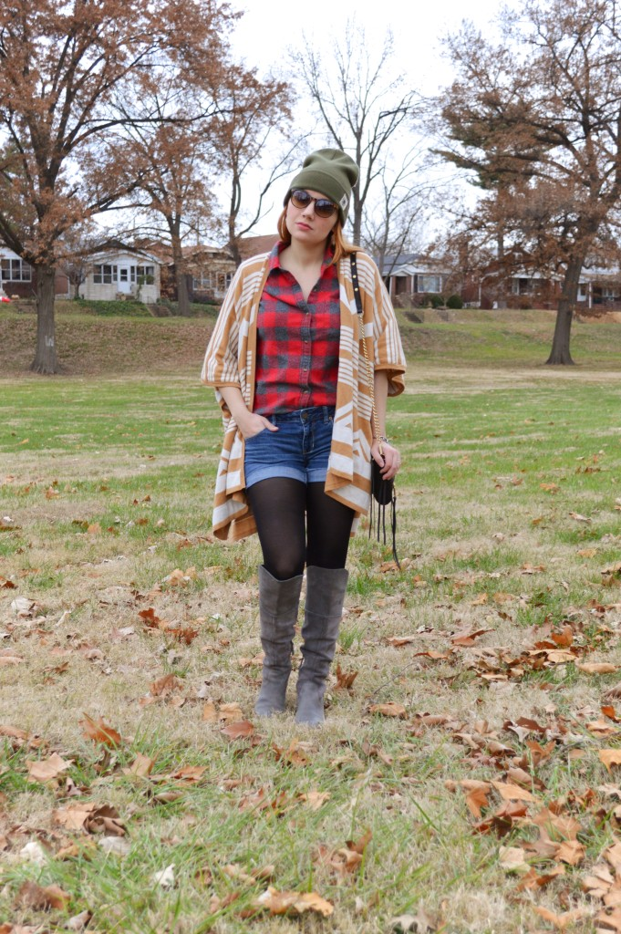 Target Cape with Plaid Flannel Shorts Naturalizer Boots Free People Beanie Rebecca Minkoff Purse - Oh Julia Ann Outfit (1)