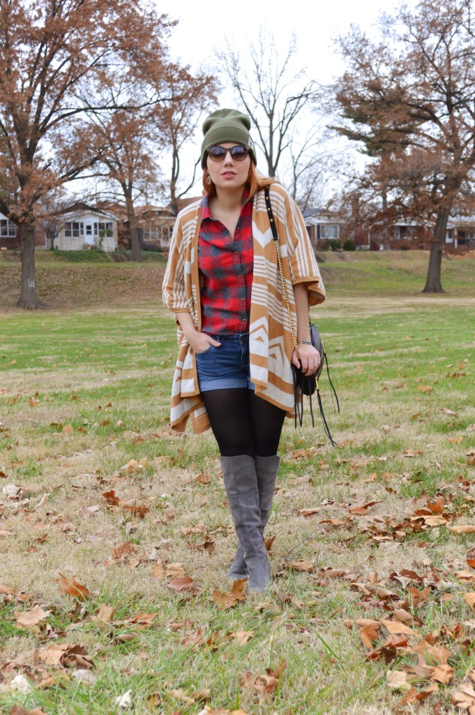 Target Cape with Plaid Flannel Shorts Naturalizer Boots Free People Beanie Rebecca Minkoff Purse - Oh Julia Ann Outfit (2)