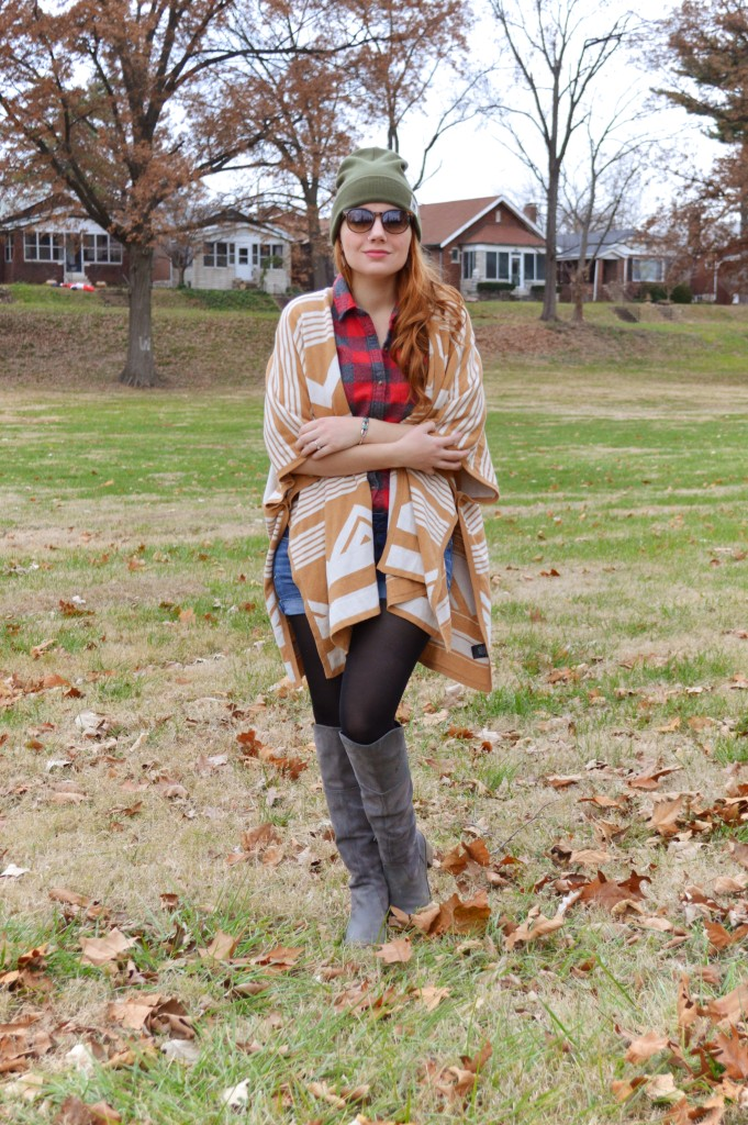 Target Cape with Plaid Flannel Shorts Naturalizer Boots Free People Beanie Rebecca Minkoff Purse - Oh Julia Ann Outfit (3)