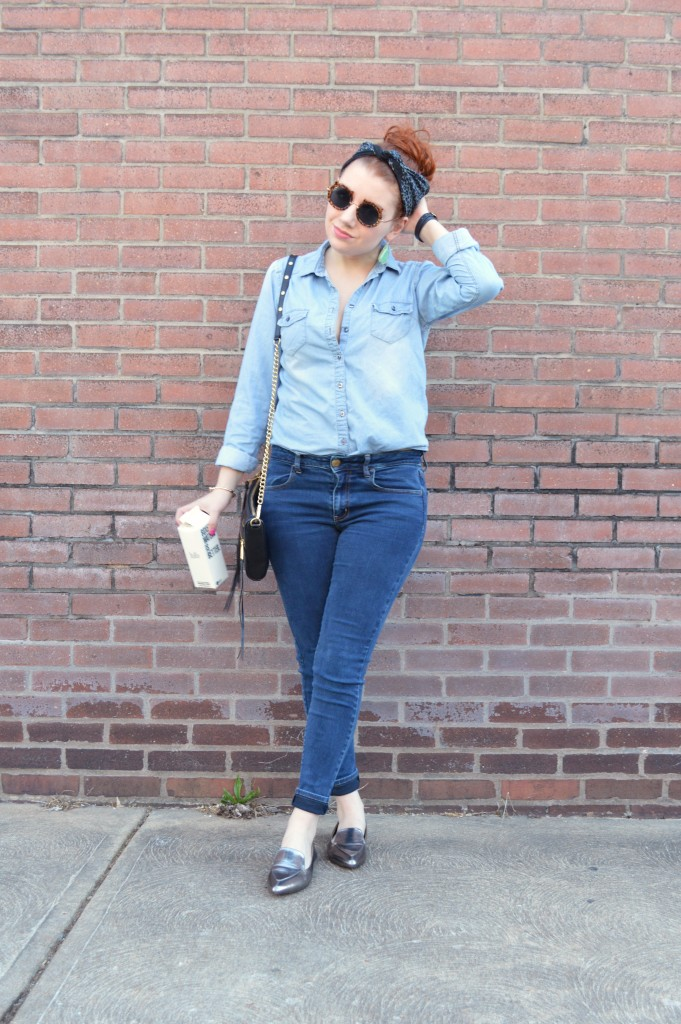 Oh Julia Ann - Outfit - Cat Sunglasses, Denim Shirt, Skinny Jeans, Kendra Scott Earrings, Pewter Loafers (1)