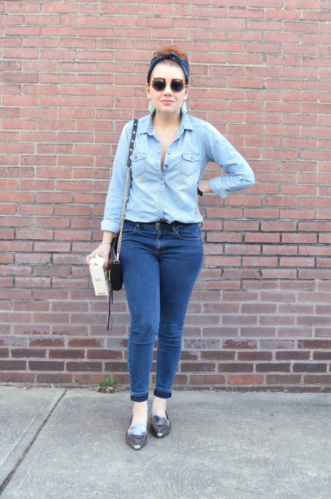 Oh Julia Ann - Outfit - Cat Sunglasses, Denim Shirt, Skinny Jeans, Kendra Scott Earrings, Pewter Loafers (2)