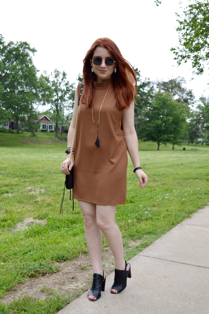 Oh Julia Ann - Brown Tobi Shift Dress with Peep Toe Booties - Summer Outfit Idea - Rebecca Minkoff Crossbody Bag - STL Blog (1)