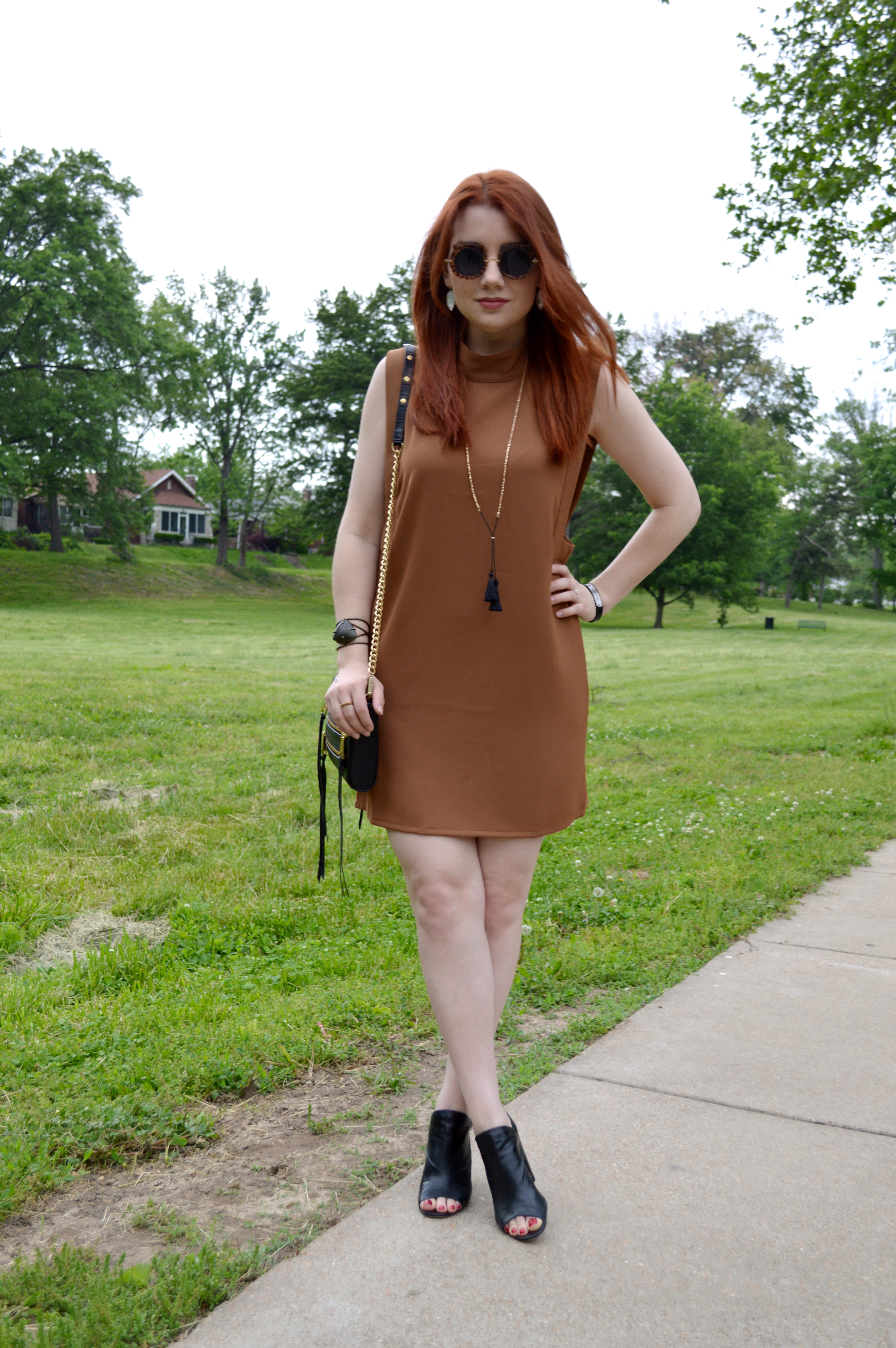 Oh Julia Ann - Brown Tobi Shift Dress with Peep Toe Booties - Summer Outfit Idea - Rebecca Minkoff Crossbody Bag - STL Blog (2)