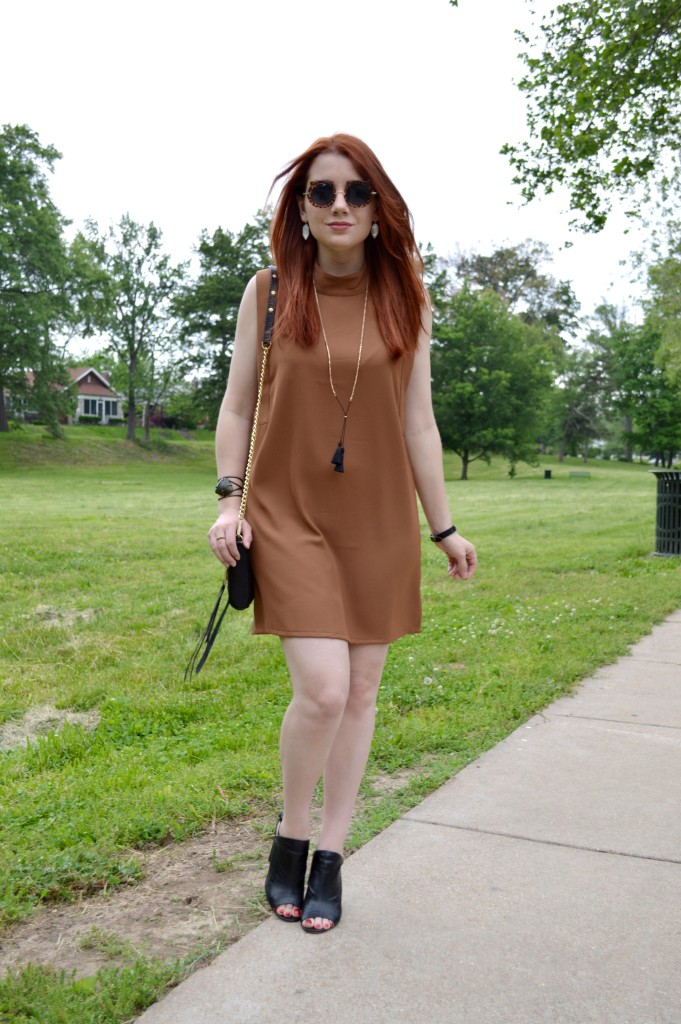 Oh Julia Ann - Brown Tobi Shift Dress with Peep Toe Booties - Summer Outfit Idea - Rebecca Minkoff Crossbody Bag - STL Blog (3)