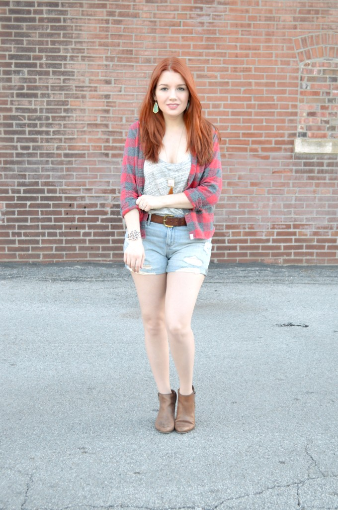 Oh Julia Ann - Outfit - Plaid Flannel with Tee and Cut Off Shorts - Rack and Clutch Anthropologie Naturalizer hazel2blue (2)