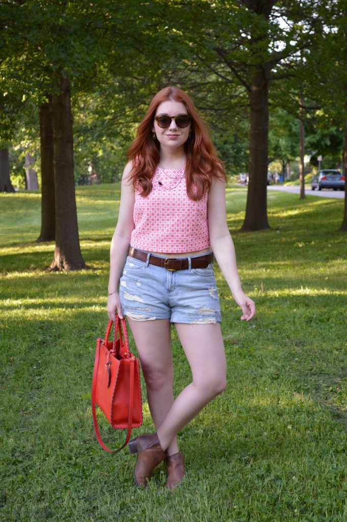 Oh Julia Ann Summer Outfit - Trina Turk  crop top from thredUP wit Hazel2Blue shorts, Collections by Joya layered necklace, Naturalizer booties, and TJ Maxx bag - (1)
