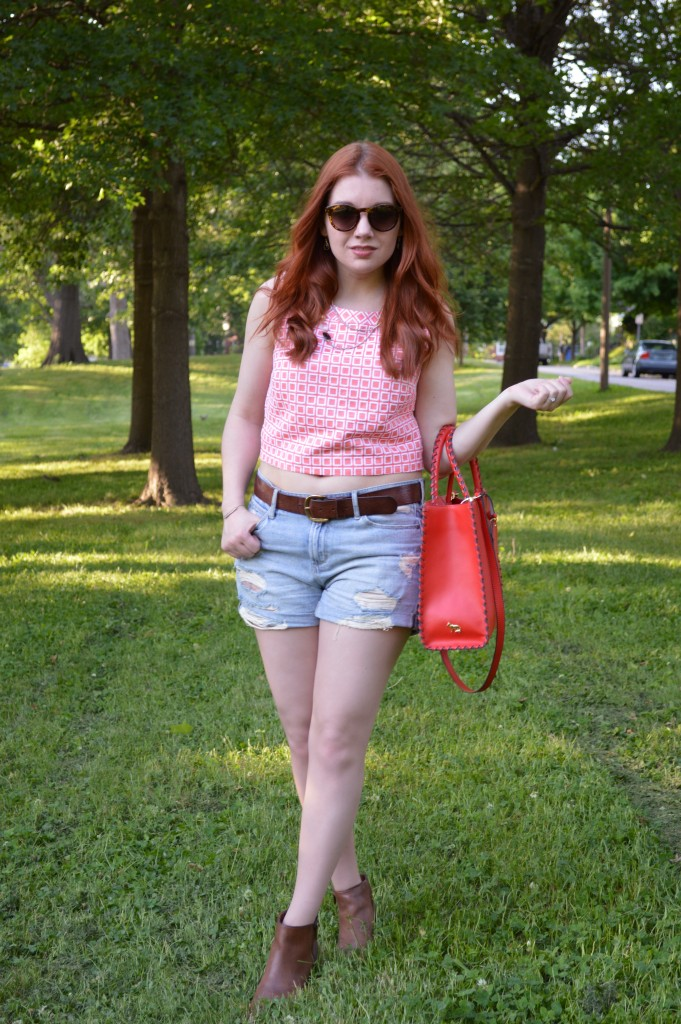 Oh Julia Ann Summer Outfit - Trina Turk  crop top from thredUP wit Hazel2Blue shorts, Collections by Joya layered necklace, Naturalizer booties, and TJ Maxx bag - (2)