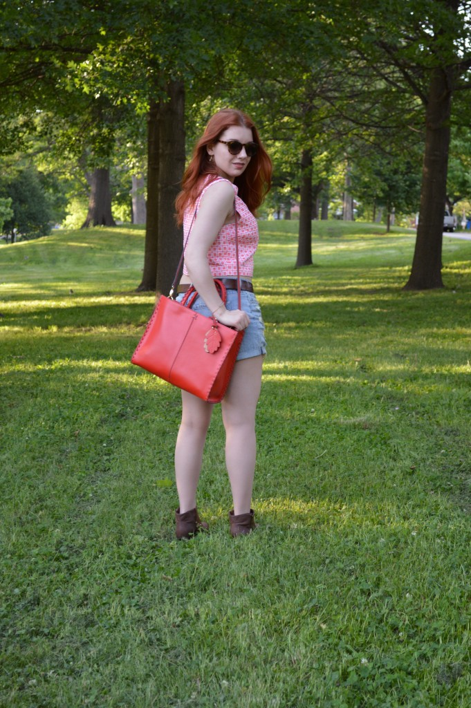 Oh Julia Ann Summer Outfit - Trina Turk  crop top from thredUP wit Hazel2Blue shorts, Collections by Joya layered necklace, Naturalizer booties, and TJ Maxx bag - (3)