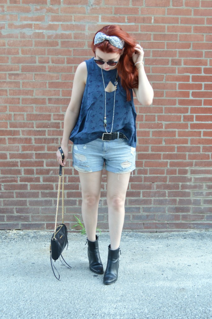 Oh Julia Ann Summer Outfit - Shorts Cut Out Free People Tank Collectios by Joya Naturalizer Booties Boho Headband Long Red Hair (3)