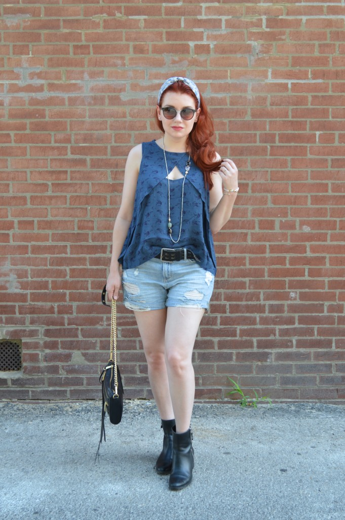 Oh Julia Ann Summer Outfit - Shorts Cut Out Free People Tank Collectios by Joya Naturalizer Booties Boho Headband Long Red Hair (4)