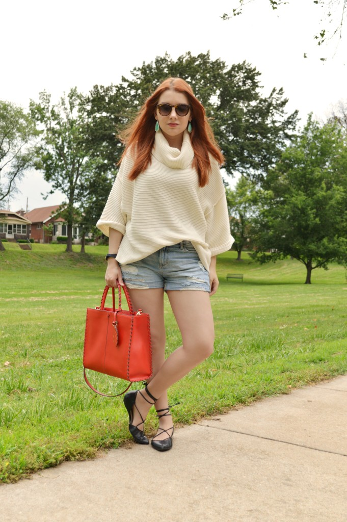 Oh Julia Ann Summer Outfit that Transitions to Fall - Free People Turtleneck Pullover Sweater with Denim Cut Off Shorts, Kendra Scott Caroline Earrings, Lace Up Flats  (1)
