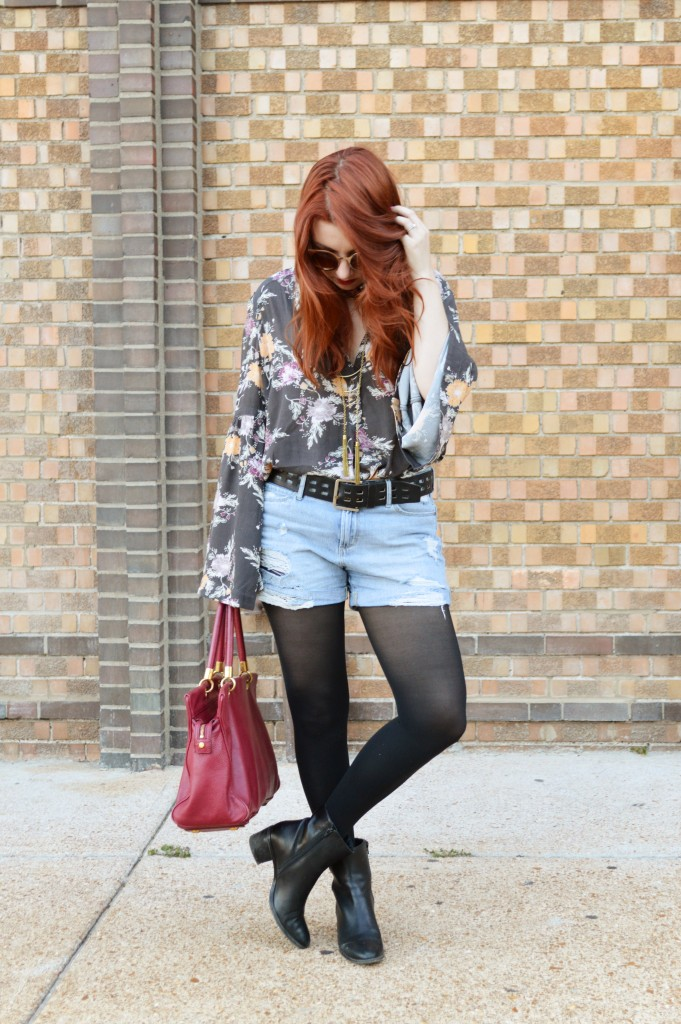 Free People Bell Sleeve Blouse with Denim Cut Off Shorts, Tights, and Booties - Summer Outfit by Oh Julia Ann (1)