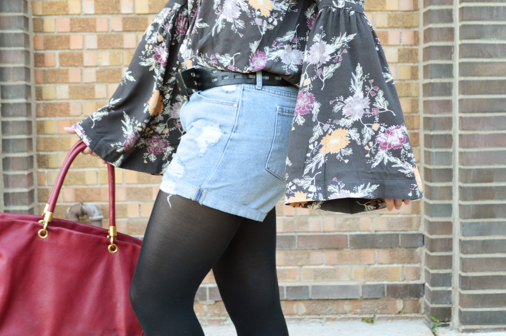 Free People Bell Sleeve Blouse with Denim Cut Off Shorts, Tights, and Booties - Summer Outfit by Oh Julia Ann (4)
