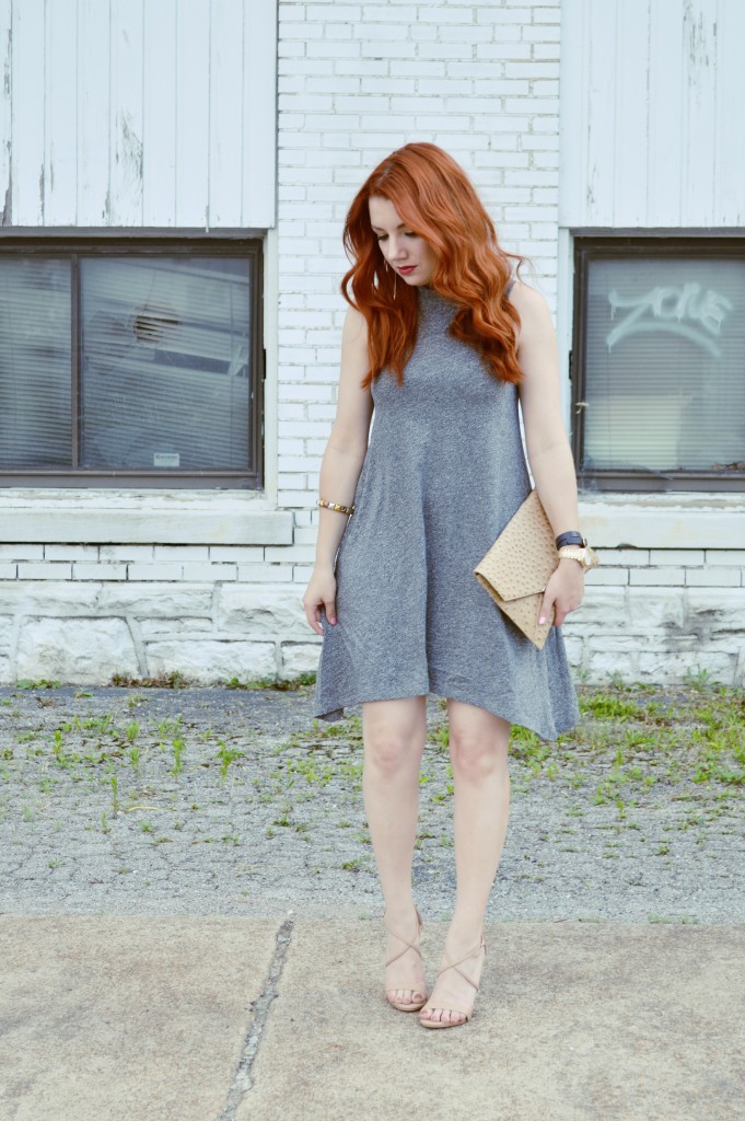 Summer Outfit Idea - Anthropologie Grey Tank Dress with Nude Strappy Heels - Oh, Julia Ann (4)