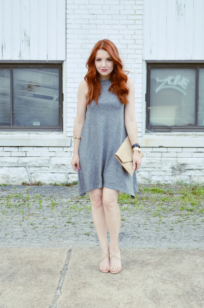 Summer Outfit Idea - Anthropologie Grey Tank Dress with Nude Strappy Heels - Oh, Julia Ann (5)