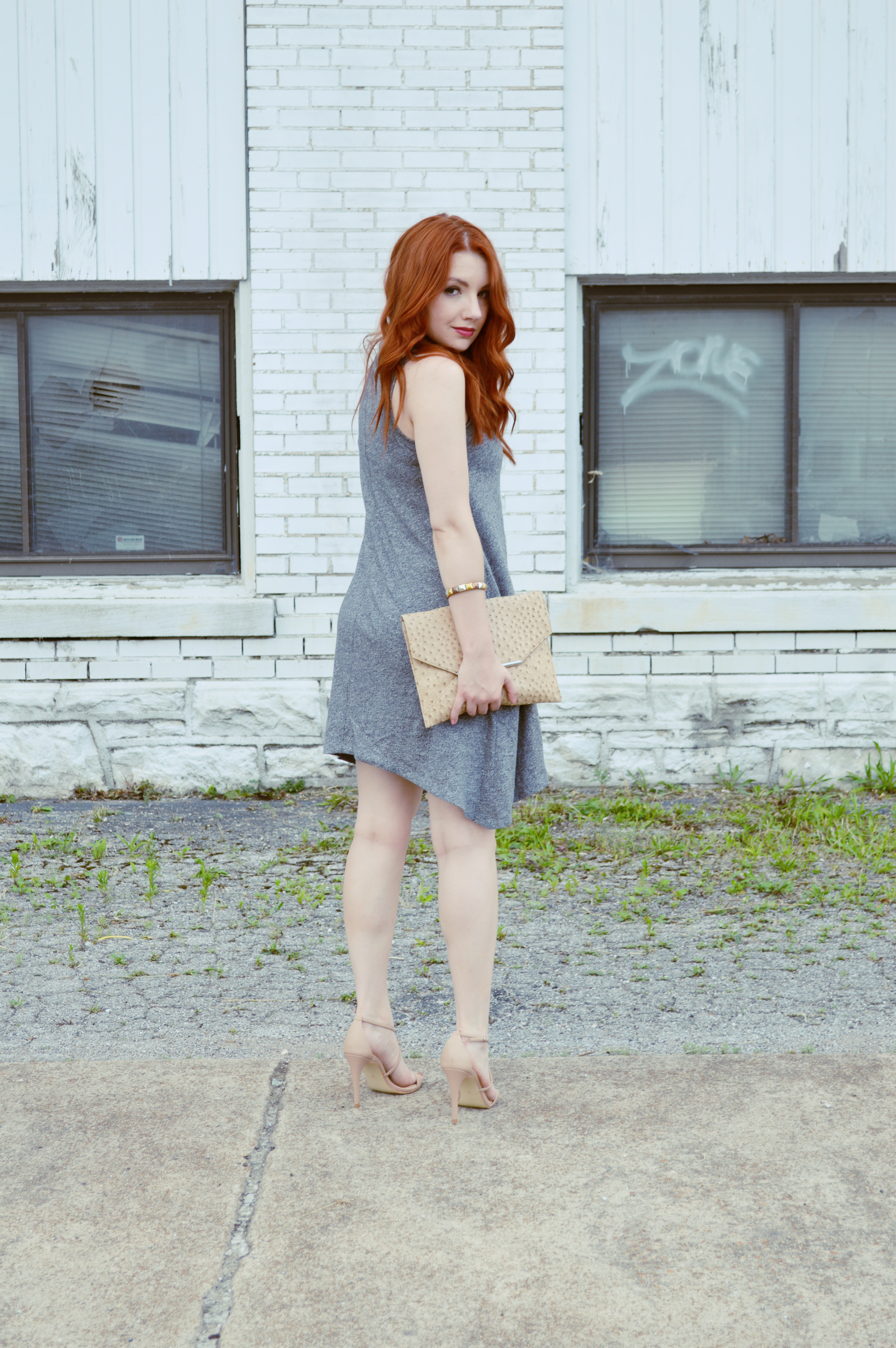 Summer Outfit Idea - Anthropologie Grey Tank Dress with Nude Strappy Heels - Oh, Julia Ann (6)