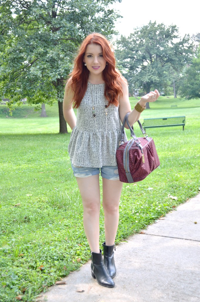 Summer Outfit Idea - Peplum Anthropologie blouse with cut off denim shorts, a LeSportsac purse, and Naturalizer booties - See more at OhJuliaAnn.com (2)