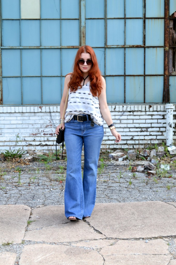 Tobi Strappy Bralette with Open Back Tank and Madewell Flea Market Flares Summer Denim Outfit - Oh Julia Ann (2)