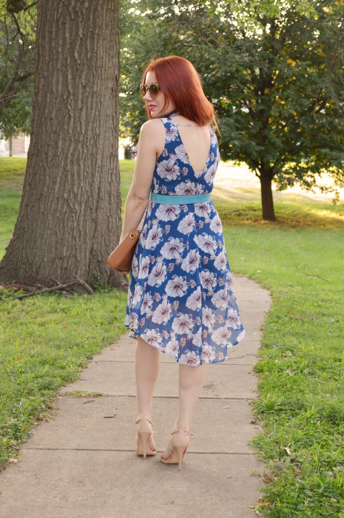 Floral ASTR Dress with Patterened Vintage Neck Scarf and Rebecca Minkoff MAC Crossbody Purse - Summer Outfit by Oh Julia Ann (3)