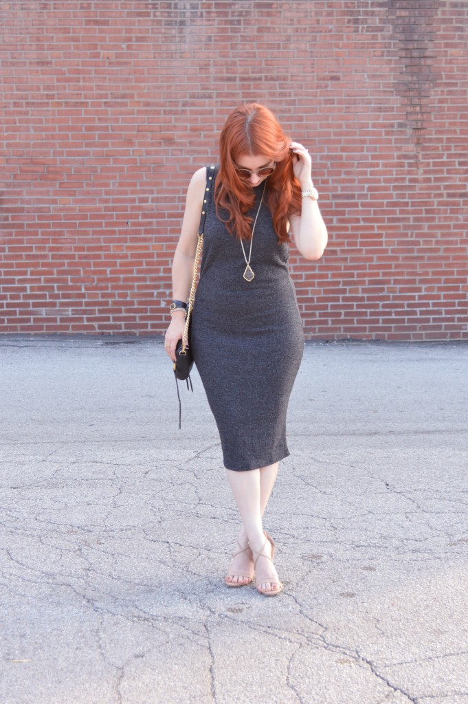 Knit Midi Dress by Tobi with Kendra Scott Jewelry and Strappy Steve Madden Heels - Outfir by Oh Julia Ann (2)