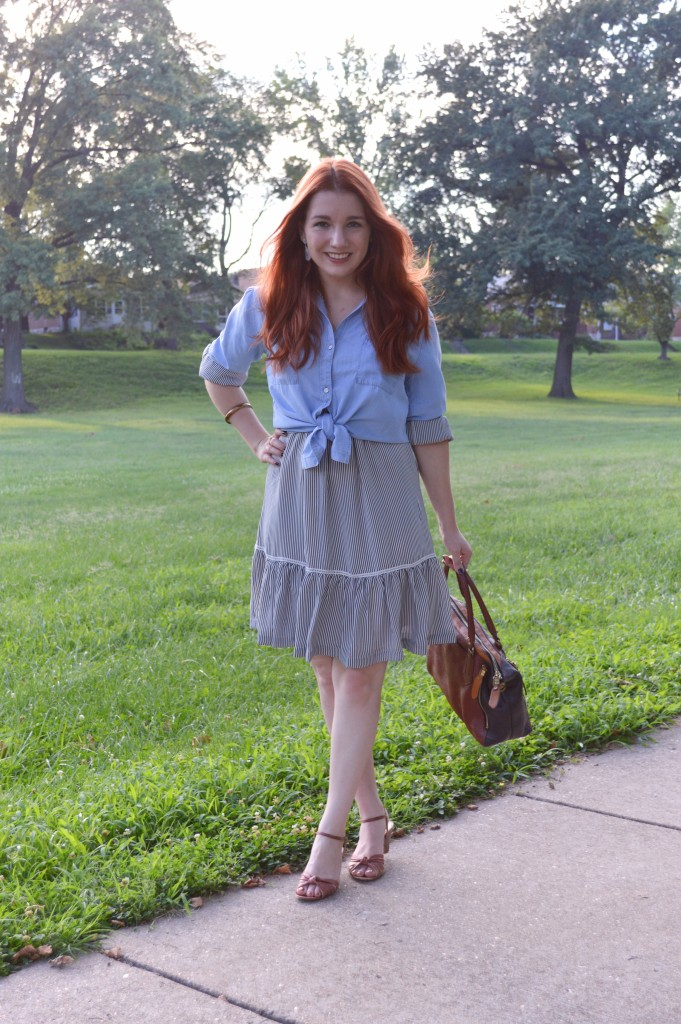Ruffle Banana Republic Dress with Tobi Chambray Shirt - Outfit by Oh Julia Ann (2)
