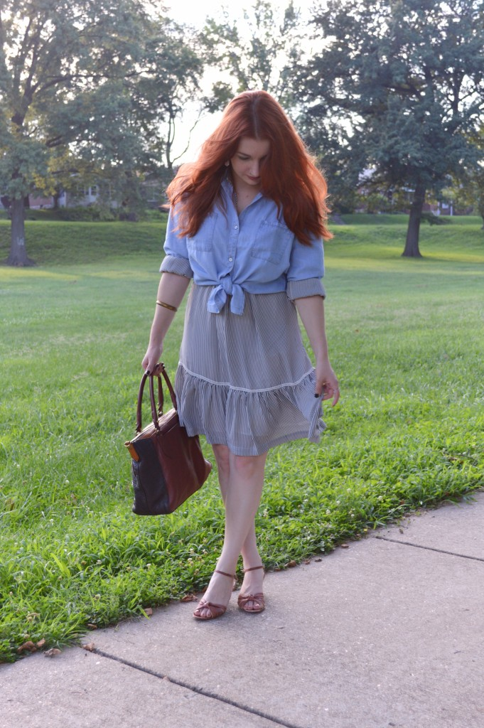 Ruffle Banana Republic Dress with Tobi Chambray Shirt - Outfit by Oh Julia Ann (3)