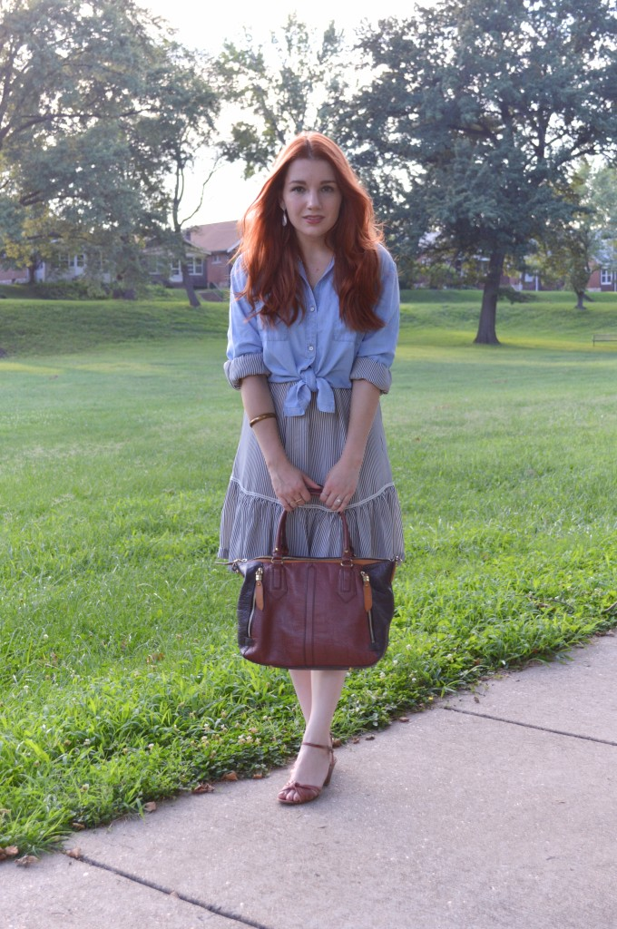 Ruffle Banana Republic Dress with Tobi Chambray Shirt - Outfit by Oh Julia Ann (6)