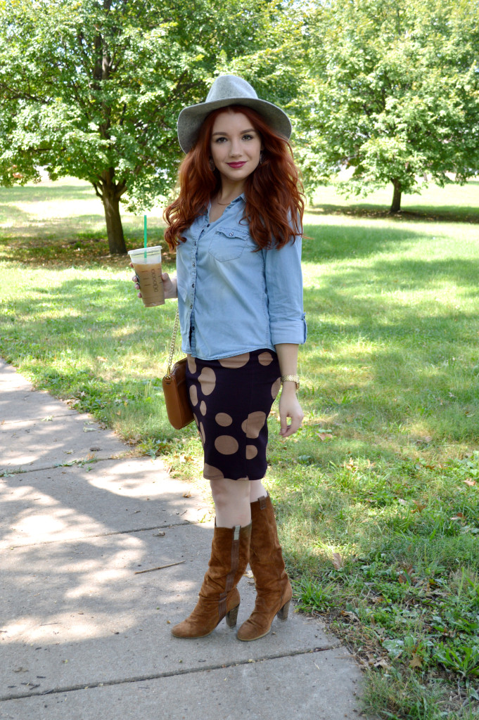 Autumn Work Outfit - LuLaRoe Cassie Pencil Skirt with Denim Shirt and Grey Wide Fedora and Suede Knee Boots for Fall - Oh Julia Ann (2)