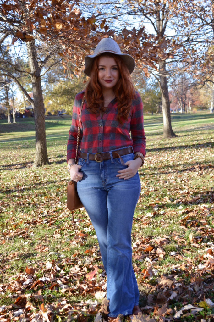fall-outfit-idea-buffalo-plaid-button-up-from-aeo-with-madewell-flea-market-flares