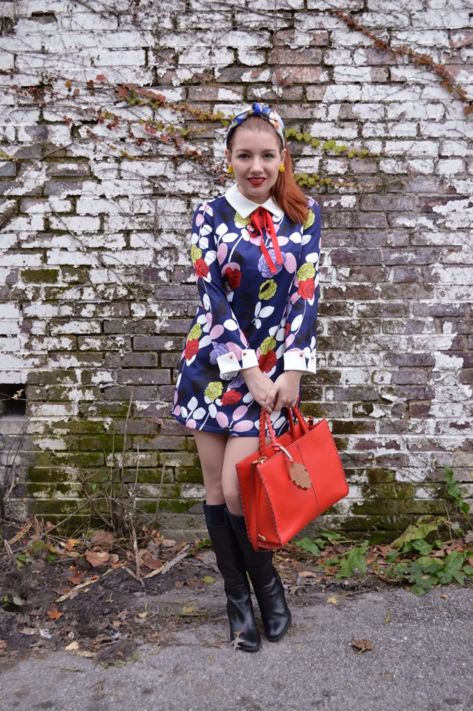 floral-1960s-inspired-long-sleeved-dress-with-bow-tie-from-stylewe-with-naturalizer-boots-and-an-anthropologie-headband-full-outfit-on-ohjuliaann-com