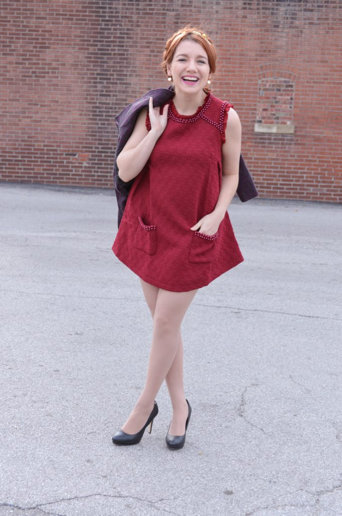holiday-outfit-idea-red-beaded-stylewe-mini-dress-with-purple-trench-coat-and-black-heels-from-ohjuliaann-com