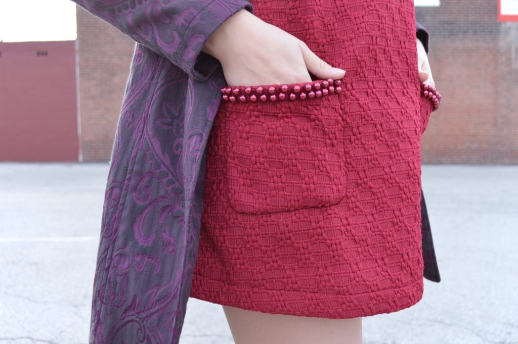winter-holiday-outfit-cranberry-beaded-stylewe-mini-dress-with-purple-trench-coat-and-black-heels-from-ohjuliaann-com