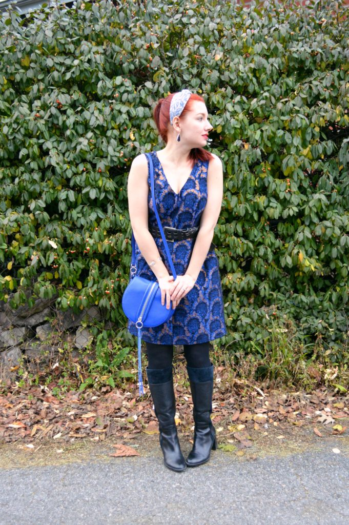 holiday-outfit-idea-from-oh-julia-ann-blue-and-gold-dress-from-j-crew-with-rebecca-minkoff-bag-all-found-at-st-louis-premium-outlets