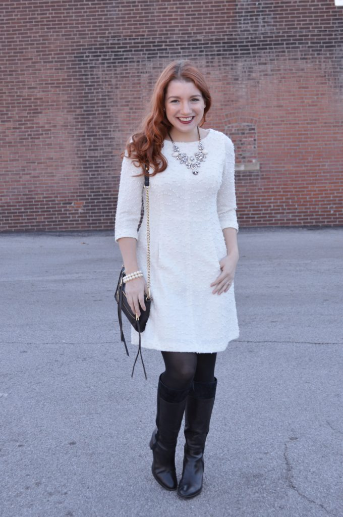 winter-holiday-outfit-idea-from-ohjuliaann-com-textured-white-sparkly-dress-with-black-boots-and-tights