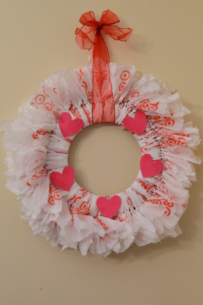 DIY Recycled Plastic Bag Rag Wreath for Valentine's Day