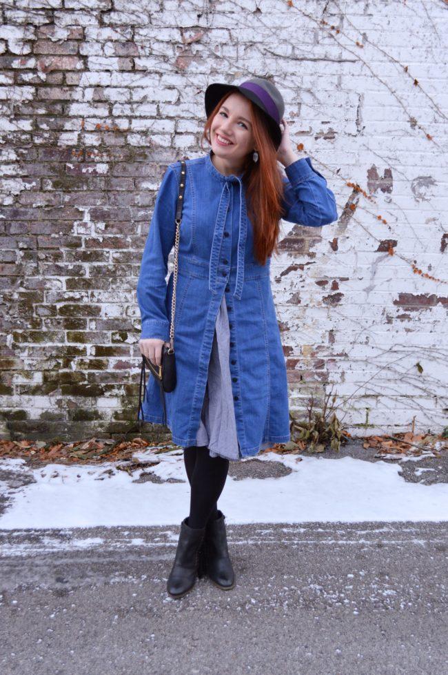 3 Ways to Wear a Denim Shirt Dress: Half-Buttoned Over a Skirt