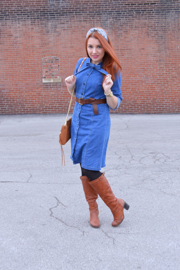 3 Ways to Wear a Denim Shirt Dress: Belted with Boots – Oh, Julia Ann
