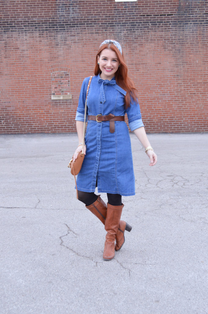 3 Ways to Wear a Denim Shirt Dress: Belted with Boots – Oh ...