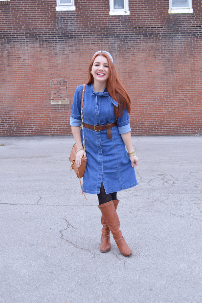 3 Ways to Wear a Denim Shirt Dress: Belted with Boots
