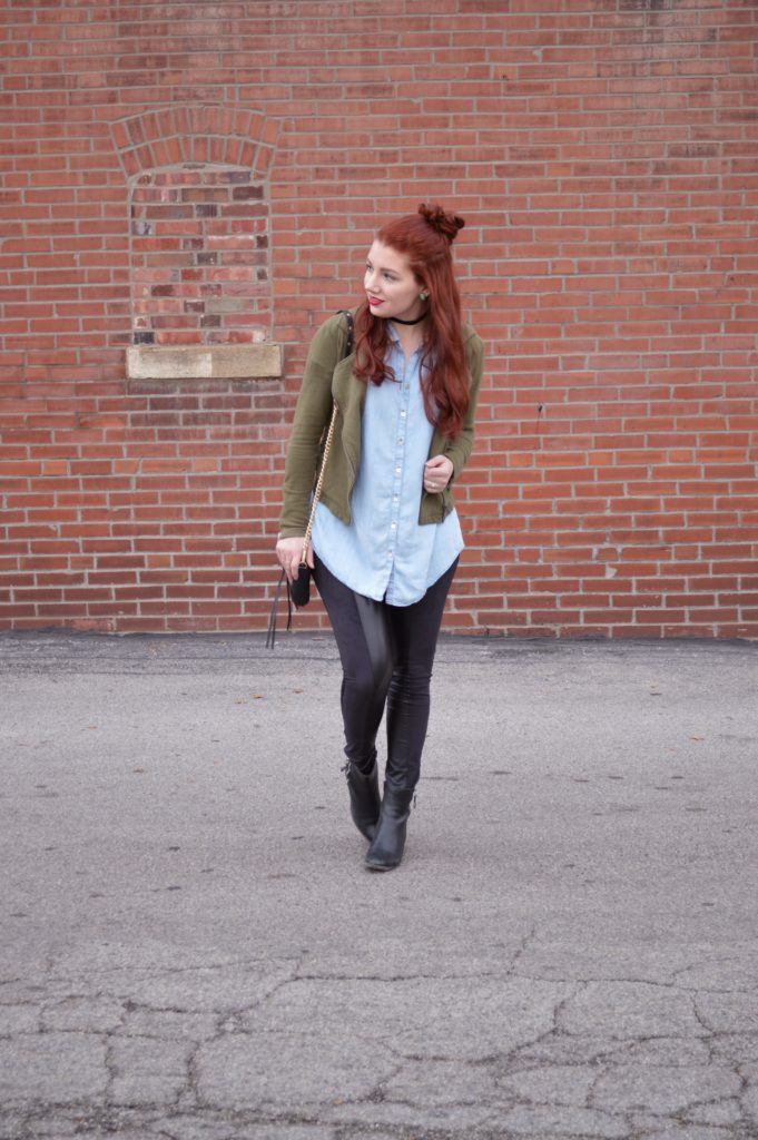 Forever Comfy   Chambray + Faux Leather Leggings